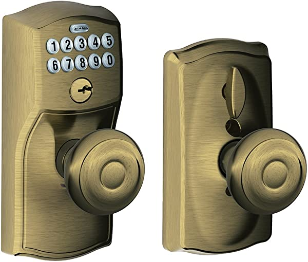 Schlage FE595 CAM 609 GEO Camelot Keypad Entry With Flex Lock And Georgian Style Knobs Antique Brass