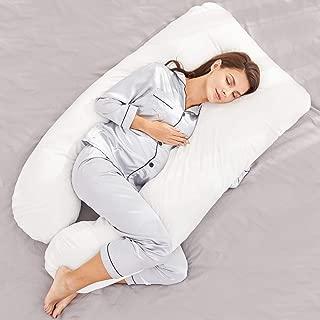 HONEST OUTFITTERS U Shaped Pregnancy Pillow, Full Body Maternity Pillow with Zipper Removable Velvet Cover,The Full Body Pillow Support for Back, Hips, Legs, Belly for Pregnant Women,White