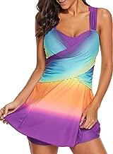 FUSENFENG Womens Plus Size Two Piece Swimdress Swimwear Rainbow Tankini Set M-XXXL