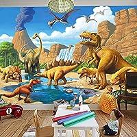 3D漫画壁画壁紙子供部屋幼稚園恐竜壁画木質繊維壁紙3D-250cm(W)x200cm(H)