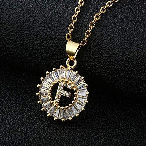 BACKZY MXJP Collar con Colgante De Letra De Circonita Cúbica Transparente, Color Dorado, 26 AZ, Encanto De Cobre Inicial, Collar De Cadena De Acero Inoxidable, Regalo