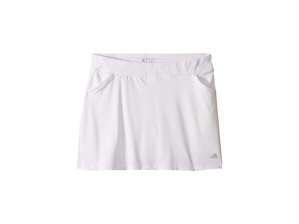 Image of adidas Golf Kids Solid Golf Skort (Big Kids) (White) Girl's Skort