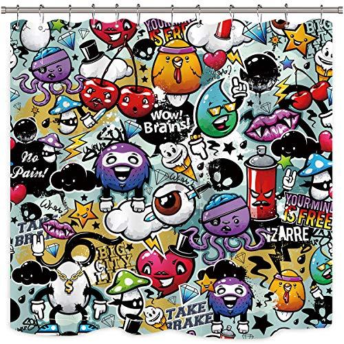 Riyidecor Monsters Graffiti Duschvorhang, Carton, lustige Kinder, lustige Aliens, farbenfroher Stoff, wasserdicht, für Zuhause, Badewanne, Deko, 12 Stück, Kunststoffhaken, 183 x 183 cm