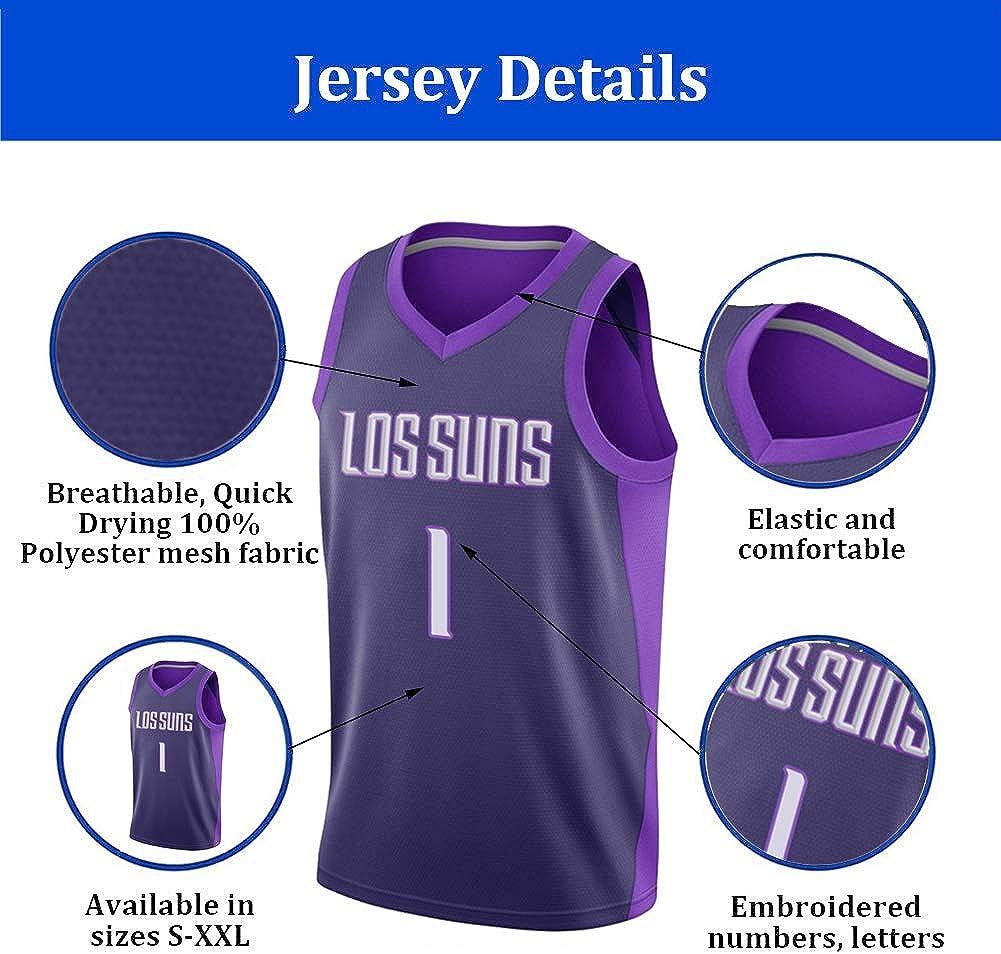 XGMJ Uomo Jersey Devin Booker 1 # Phoenix Suns Maglie Estive Pallacanestro Uniforme Ricamo Top Basket Suit Maglie