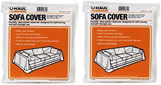 """U-Haul Sofa Covers - 2 Pack – Plastic Moving and Storage Covers for Couches Up to 8' Long – 134"""" x 42"""" Covers – Water Resistant"""
