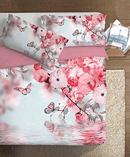 Ipersan Juego De Funda Nórdica Art De Vivre Double-Face Incanto Rosa/Taupe Cama 105 (255 x 200cm + 2/52 x 83 cm)