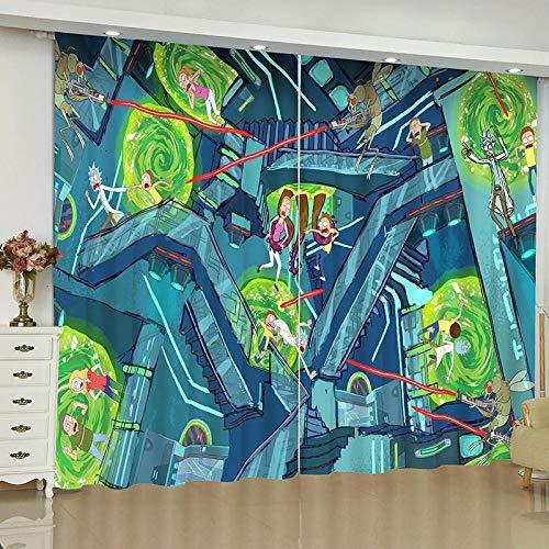 EZEZWSNBB la Cortina Mantiene el Calor afuera - Magia de Dibujos Animados Ahorro de energía, reducción de Ruido, Tratamiento térmico de Ventanas con Aislamiento, para Habitaciones de niños 150x166cm