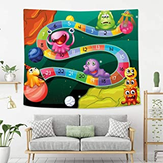 BEIVIVI Wall Tapestry Wall Hanging Board Game Colorful Cartoon Style Cute Aliens with Numbers in Curvy Line Fun Activity Theme Decorative Multicolor Wall Tapestry with Art Nature Home Decorations