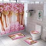 FNMDP 4 Stück Pfirsichblüten Duschvorhang Sets Mit Anti-Rutsch-Teppiche, Toilettendeckel Deckel Und Badvorleger