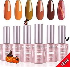 MIZHSE Gel Nail Polish Set - 18ml Halloween Pumpkin Autumn Fall Colors Nail Gel Kit 6 Colors Popular Orange Series, Soak Off UV LED Nail Art Professional Manicure Set