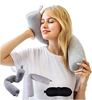 Adjustable Memory Foam Neck Pillow - Roll Support Neck Chin Lumbar Leg Twist Adjustable Bendable Flexible Cylindrical Trav...