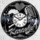 Karaoke vinilo Record reloj de pared estilo retro reloj de pared silencioso decoración del hogar único arte especial accesorios creativos personalidad regalo