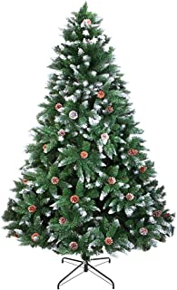 Iwell Christmas Tree with Flocked Snow Trees Pine Cone Decoration Unlit, Premium PVC Needles/Foldable Metal Stand, Xmas Full Tree for Indoor and Outdoor Holiday Decoration(6FT) SDS001S