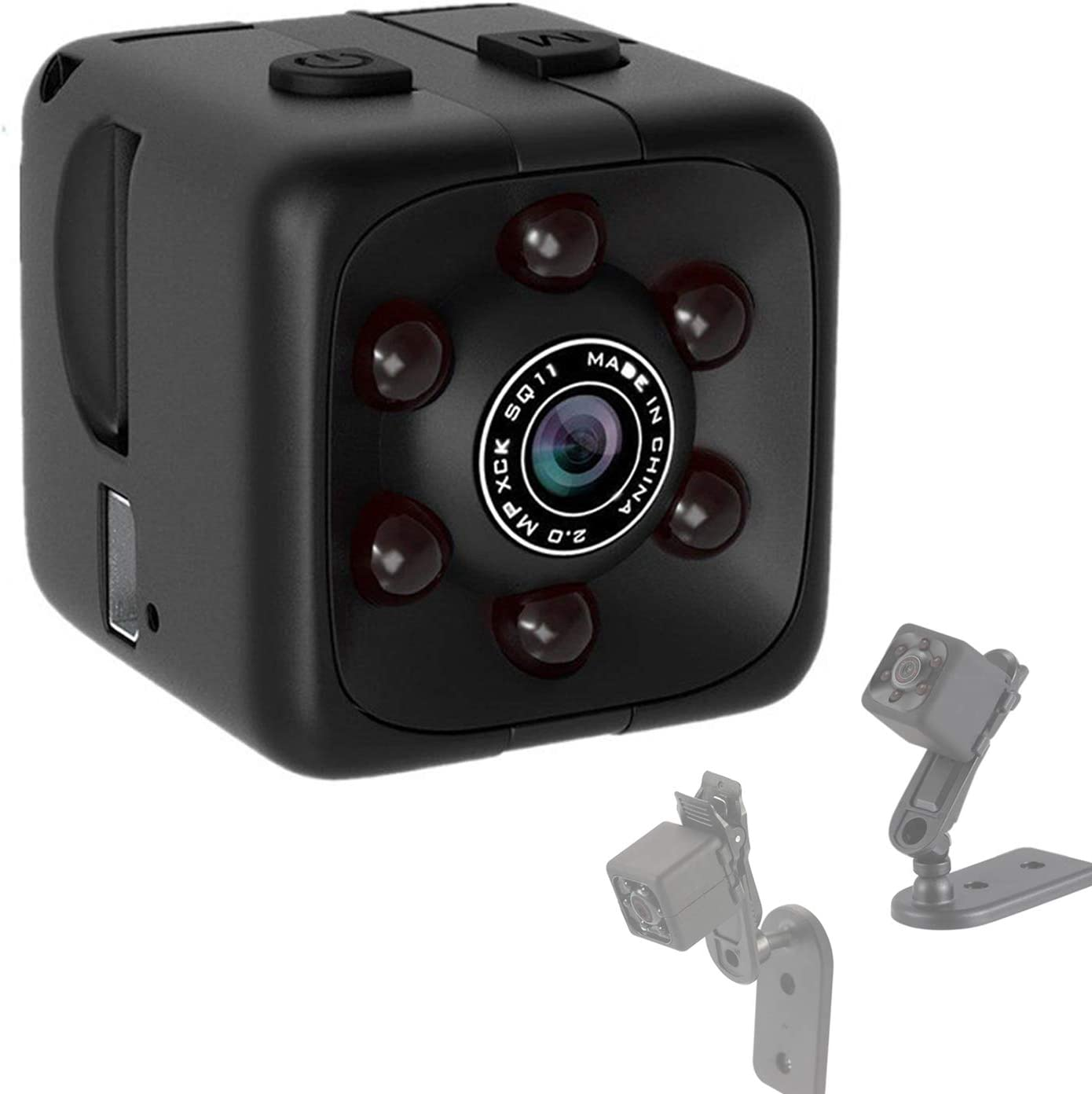 Mini Hidden Spy Camera Portable Small 1080P Wireless Cam with Night Vision and Motion Detection for Nanny/Housekeeper, Security Sports Camera. (Black-0GB)