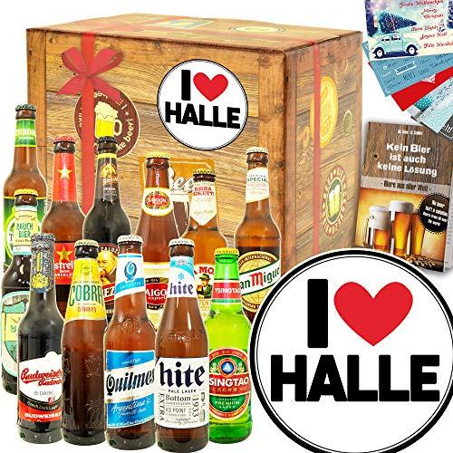 I love Halle - Biere aus aller Welt 12x - Geschenk Halle für Mann