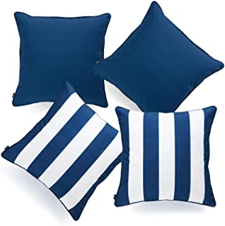 "Hofdeco Indoor Outdoor Pillow Cover ONLY, Water Resistant for Patio Lounge Sofa, Navy Blue White Solid Stripes, 18""x18"", S..."