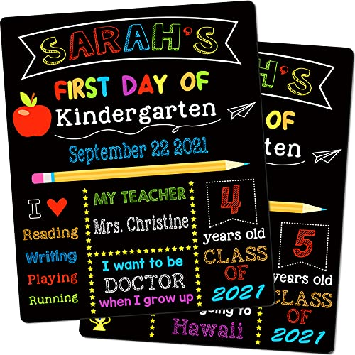 First & Last Day of School Chalkboard, 12 x 10 Inch Double Sided Back to School Sign for Kids/Girls/Boys, Reusable Wooden 1st Day of Preschool/ Kindergarten Photo Props