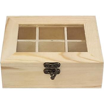 Caja de Madera 6 Compartimentos con Tapa de Cristal: Amazon.es: Hogar