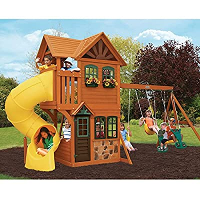 Cedar Wood Playhouse With Slide and Swing