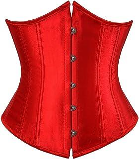 Women Sexy Corset Top Underbust Gothic Clothes Corsets Waist Trainer Belt Shaper Underwear (Color : Gold, Size : X-Small)