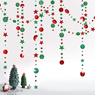Glitter Green Red Circle Dots and Star Garland Kit for Xmas Party Hanging Decoration/Streamer/Flag/Banner/Christmas Tree New Year Eve Celebration/Birthday/Wedding/Baby Shower/Holiday and Event Decor