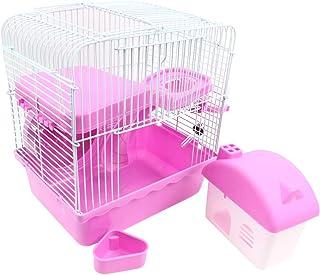 Claire 小動物 ケージ セット ハムスター リス まわし車 給水器 ロフト 多機能 (ピンク)