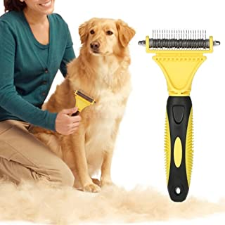 Nado Care Pet Dematting Comb, Dogs and Cats Grooming Brush Tool, 2 Sided Steel Rake for Small Medium and Large Breeds with...