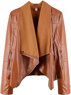 Howely Women Outwear Jacket PU Long Sleeve Waterfall Collar Fashion Coat Jacket