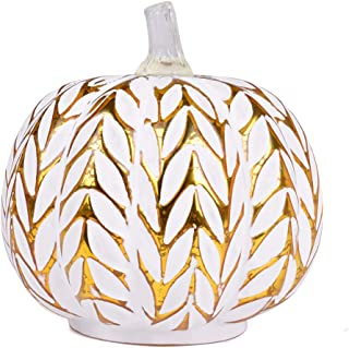 JARVANIA Fall Decor Glass Pumpkins, Halloween Candles LED Fall Decorations, Glass Pumpkins Decorations Made of Mercury, Lanterns Decorative Battery Operated (New Gold)