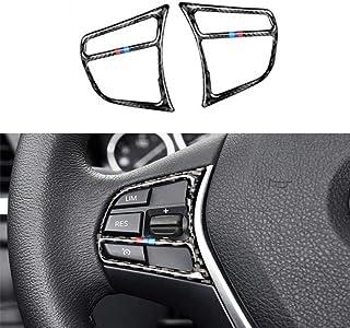 NsbsXs Auto Innenraum, Für BMW F30 F36 3 4er 2PCS / Set Kohlefaser Auto Innenlenkung Lenkrad Knopf Rahmen Abdeckungen Aufkleber Aufkleber