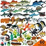 GIFTEXPRESS 60 Pcs Assorted Ocean Sea Animals Figures, Realistic Sea Creatures Toy Figures, Under The Sea Life Figures, Educational Toy, Easter Egg Filler, Cupcake Topper, Aquarium Decorations
