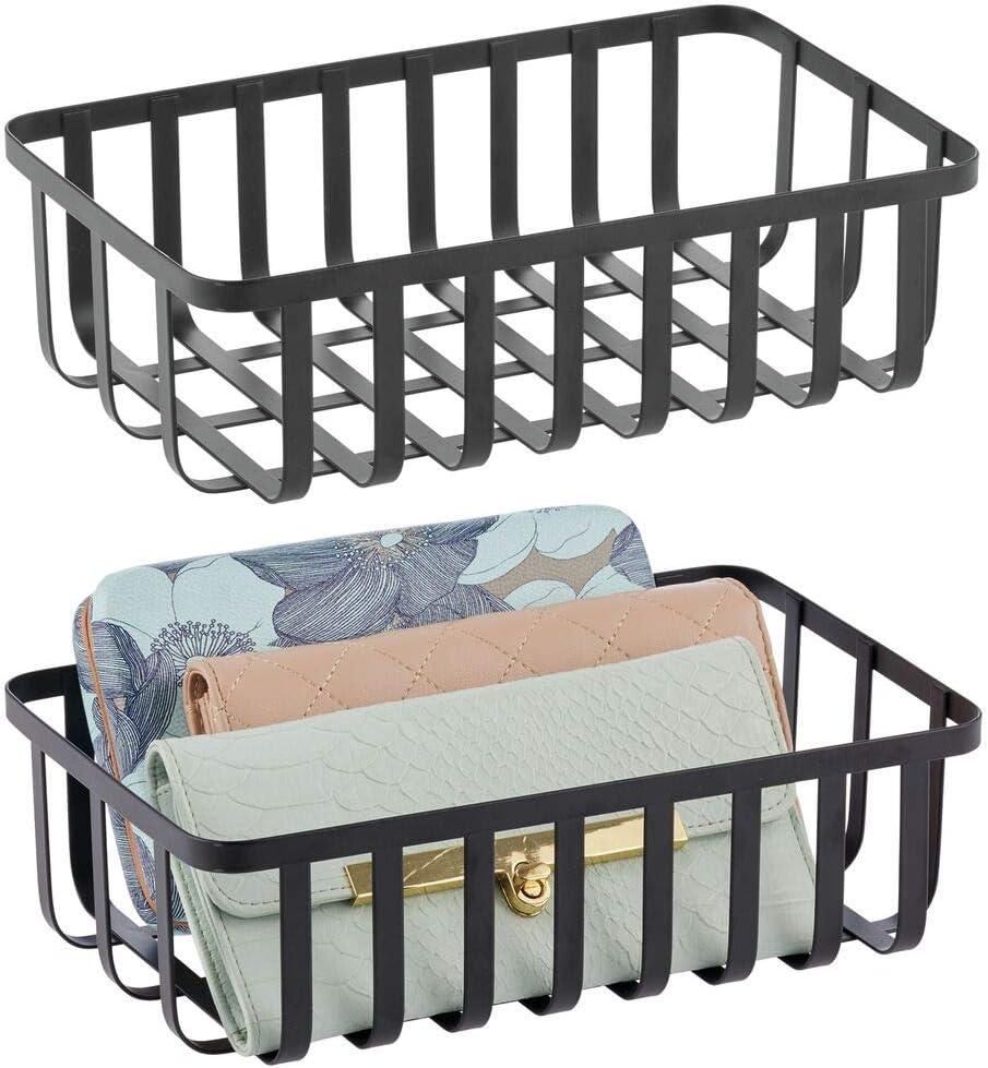 bagno nero cucina e ingresso Cestino portaoggetti in filo metallico ideale per ufficio Contenitore in metallo con un affascinante design a griglia mDesign Set da 2 Porta oggetti