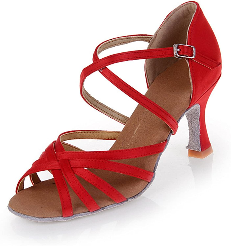 WYMNAME Womens Latin Dance shoes,Silk High Heels Gb Friendship Square Dance shoes