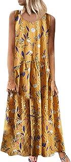 TWGONE Boat Neck Dresses for Women Spring Plus Size Bohemian Floral Print Vintage Sleeveless Long Madi Dress