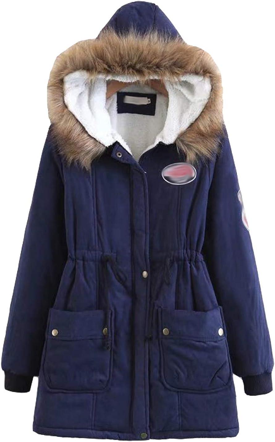 Hongsui Women's Winter Warm Long Coat Fur Collar Hooded Jacket Slim Parka Outwear