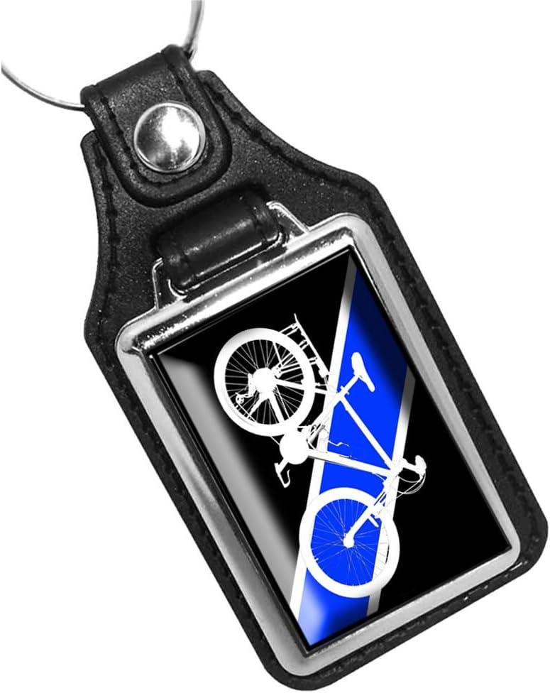 Brotherhood Thin Blue Line Bicycle Unit Design Keychain Key Holder Key Ring for Men Heavy Duty Car Keyring for Men and Women