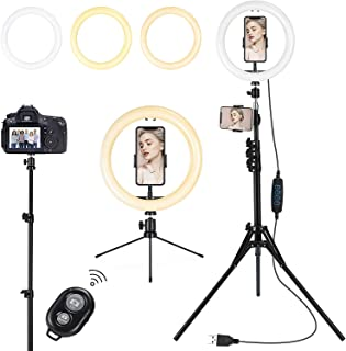 Lomotech Ring Light with Tripod Stand and Phone Holder, 10 INCH Selfie Ring Light, Camera RingLight Perfect for Video Reco...