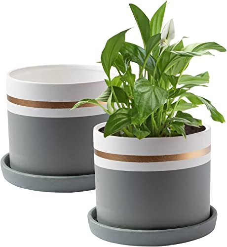 wholesale Royal Imports outlet online sale Flower Pot Ceramic Vase, Decorative Planter for Indoor sale Outdoor Garden Windowsill, with Drainage Hole and Saucer, White Gold Grey outlet sale