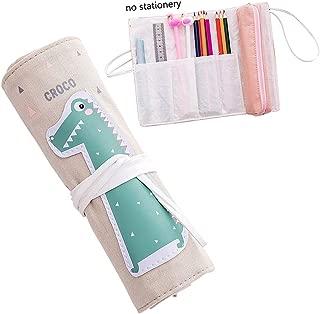 iSuperb Cartoon Pencil Roll Warp Cotton Linen Pencil Case Roll Up Holder Pencil Organizer Pouch (Crocodile)