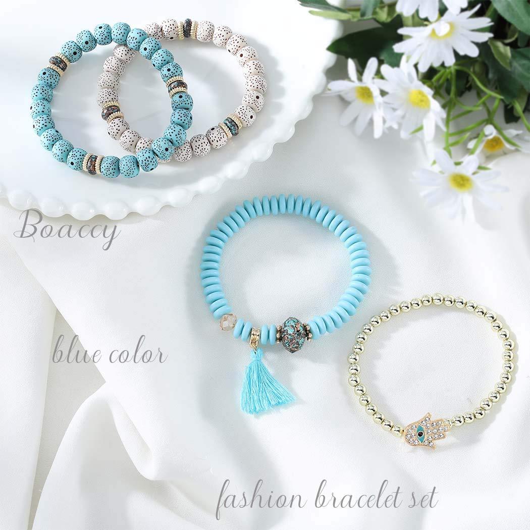 Boaccy Vintage Beaded Cuff Bracelets Layering Wrap Bangle Hand of Fatima Tassel Pendant Bracelet Jewelry for Men Women (BLUE)