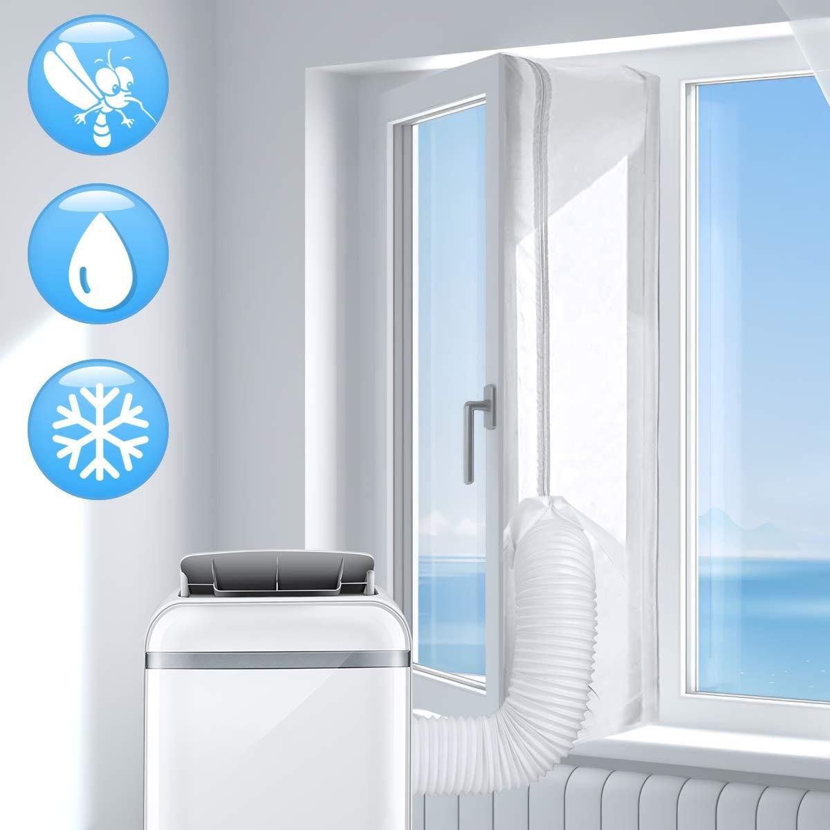AGPTEK 300CM Aislamiento Ventanas para Aire Acondicionado Móvil y Secadora, Sello de Ventanas Impermeable, Anti UV, Anti-Mosquitos, con Dual Cremallera: Amazon.es: Hogar