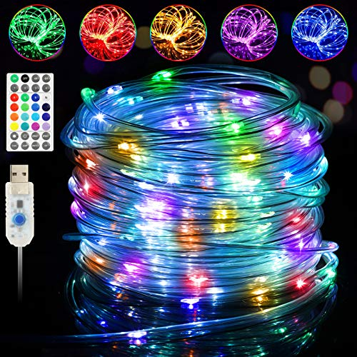 LED Rope Lights Outdoor Indoor 33ft 16 Colors Changing 100 LEDs String Fairy Lights, Waterproof Twinkle Strip Tube Lights with Remote for Bedroom Christmas Tree Starry Wedding Party Home Pool Decor