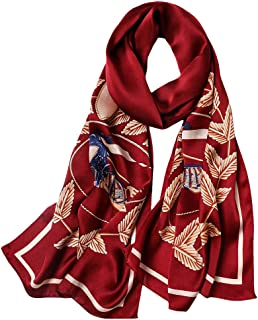 GSJJ Silk Scarf Mulberry Scarves Neck Scarf Women, Luxury Long Lightweight Silk, Floral Print Gift Choice(Blue, red, Green),B,17553cm