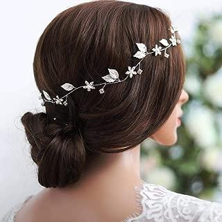 Yean Bride Wedding Hair Vine Headband Gold Leaf Bridal Accessories for Women (Silver)