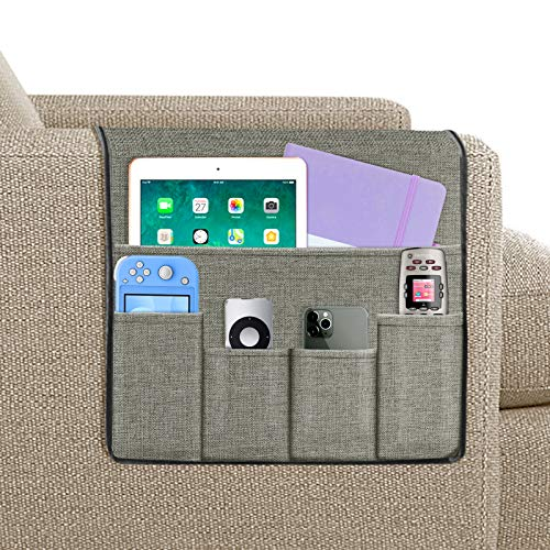 Joywell Sofa Armrest Organizer, Remote Holder on Couch & Chair Arm, 5 Pockets for TV Remote Control, Magazine, Books, Cell Phone, iPad, Light Grey