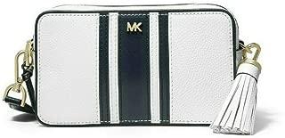 MICHAEL Michael Kors Small Logo Tape Camera Bag Crossbody in Optic White/Admiral