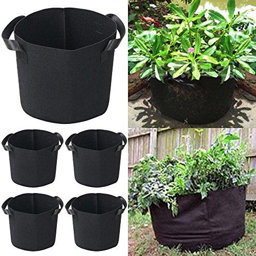 QuiCi 5 pcs Tissu Pot de fleurs rond pour sac de croissance pour plantes en pleine Croissance Pochette avec poignées Racine Pots à nourriture 3 Gallon/5 Gallon pour Choix 3 Gallon