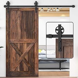 WINSOON 5-16FT Single Wood Sliding Barn Door Hardware Basic Black Big Spoke Wheel Roller Kit Garage Closet Carbon Steel Fl...