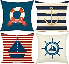 MIULEE Pack of 4 Decorative Nautical Sailing Pillow Cushion Cover Set Cotton Linen for Sofa Bedroom Car 18 x 18 Inch 45 x 45 cm Anchor Ship Buoy Rudder