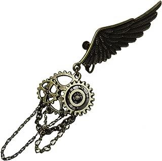 【steampunk】鎖 チェーン 歯車 ギア スチームパンク 羽 イヤリング (片耳タイプ)